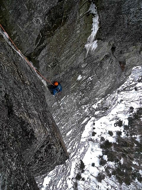 Looking down at me seconding pitch 3. Credit, Kevin Mahoney.
