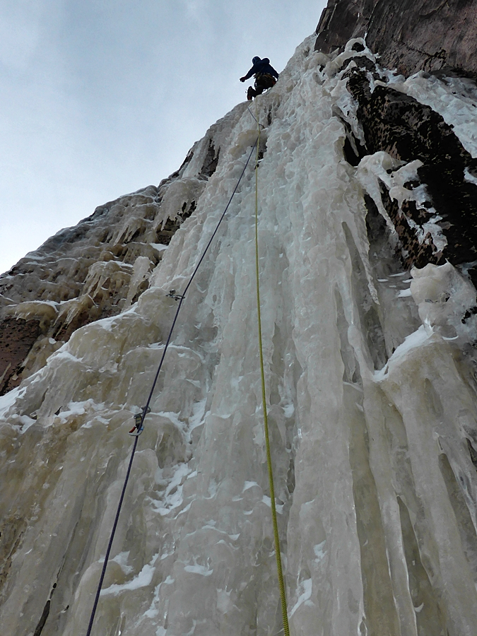 Bayard leading the third pitch of Speed Trap which led to our ice thread from the day before and a full seventy metre abseil to the ground. The eight and a half km skin out took three hours.