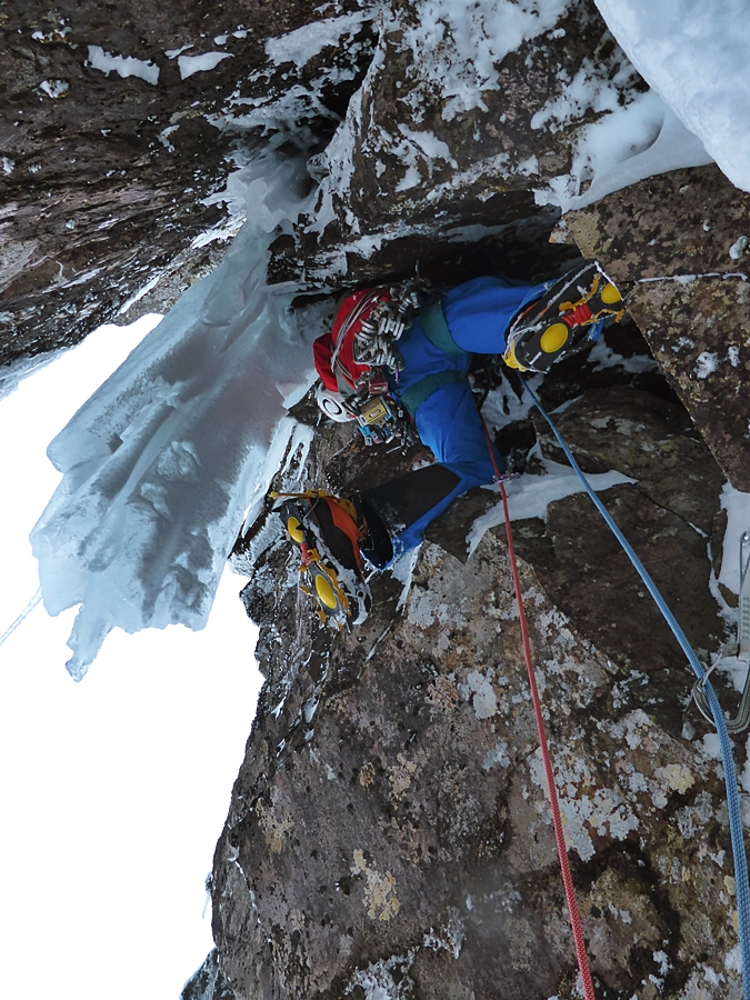 Guy Robertson setting off on pitch four, the previously unclimbed finish. Credit, Nick Bullock.