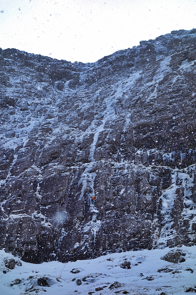 Myself on pitch one of the new route, The Wrecking Light. A direct, four pitch ice climb on Cùl Mòr. VIII/7. Guy Robertson, Andy Ingles, Nick Bullock. 6.3.16.