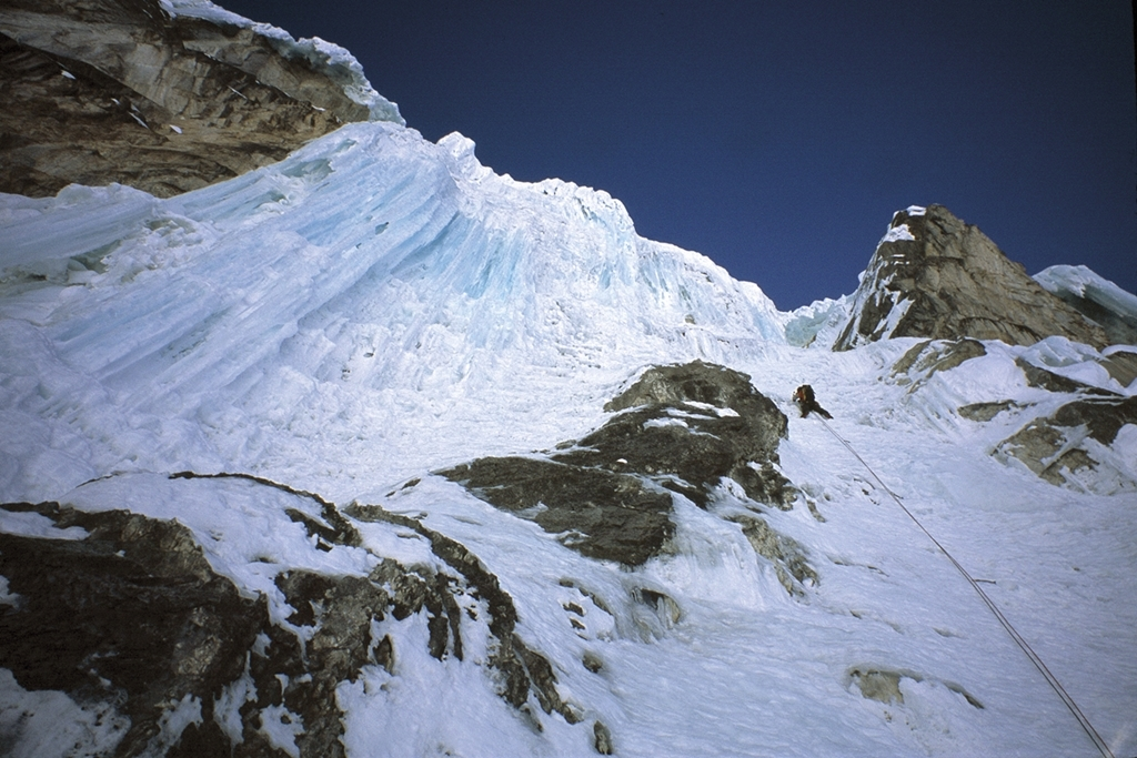 Myself leading towards the right side of the crux icefall on Jirishanca's Southeast Face. Powel weighed our rucksacks before we set off, they were 5kg each. This included all bivi gear and food. Pic Credit, Al Powel.