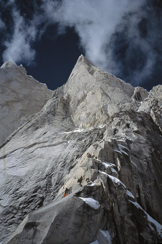 Owain Jones and myself on our first attempt to climb Meru Shark's Fin, India. On the second attempt, Jules Cartwright, Jamie Fisher and I reached the base of the corner system at the top of the snow patch directly beneath the final headwall. Pic Credit, Jules Cartwright.