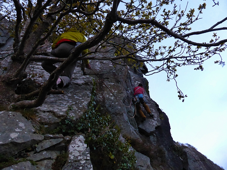 V climb number 6. Valour. Myself setting out in the gloom. Pic Credit, Kris McCoey.
