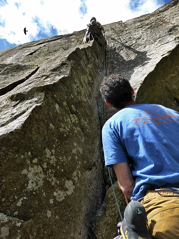 V climb (still) number 1, pitch 2. The pod and crux wall of Void.