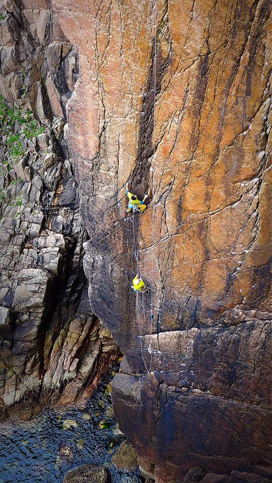 Another day on the Holy Jaysus Wall. Myself leading the top pitch of The Second Coming. Pic Tim Neill.