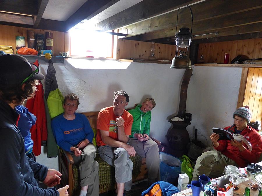 A gathering before going climbing. Paul Swail, Kris McCoey, Tim Neill, John Orr, John McCune.
