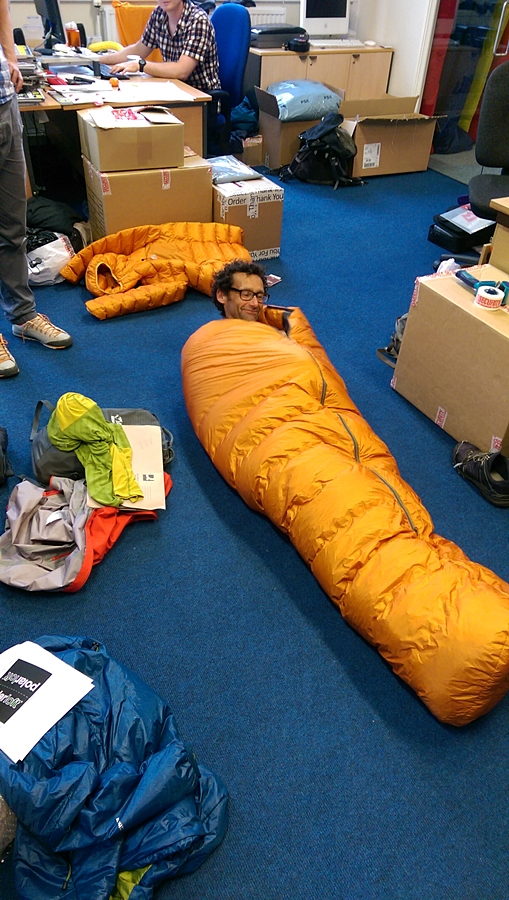 "In the Mountain Equipment office testing out my bespoke sleeping bag nicknamed the Quiver Bag. Extra down, wider at the top, waterproof outer with taped seams. ""How much did it cost?"" ""You really don't want to know Nick."" Who could ask for better sponsors. Thanks :-)"