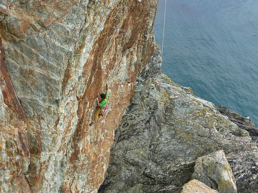 Myself climbing Gimble in the Wabe. Credit, Nikki Clayton.