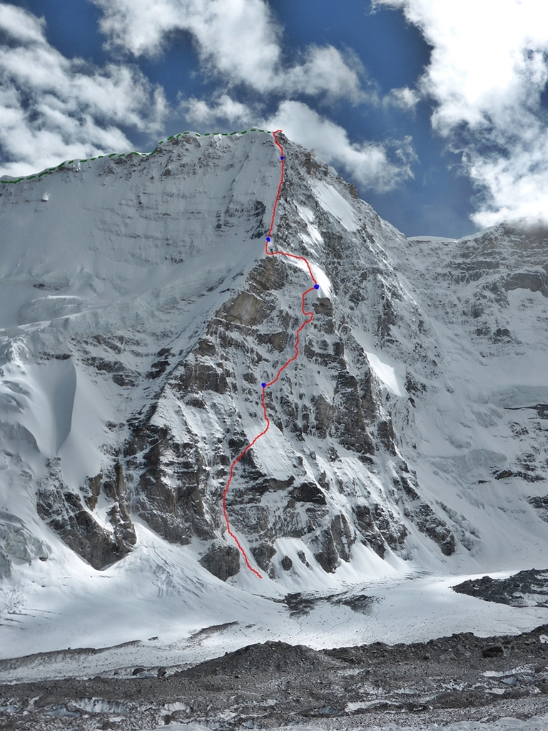 The North Buttress of Nyainqentangla South East first ascent by Paul Ramsden/Nick Bullock. 1600m. ED+ Descent via the East Ridge into the South Valley. October 2nd and back into the valley, 8th.
