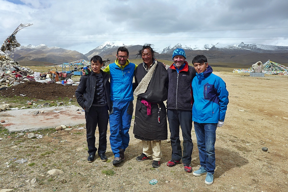 Tashi, the LO, me, the village headman who put us up in his home, Paul and drives...