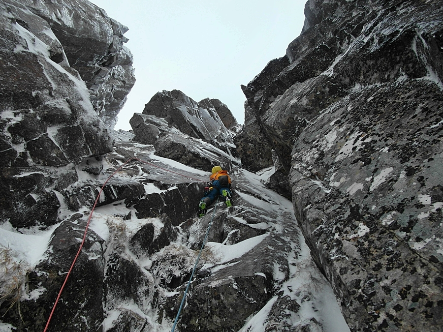 Myself climbing the second pitch of East Face Direct, Direct. Credit, Matt Helliker.