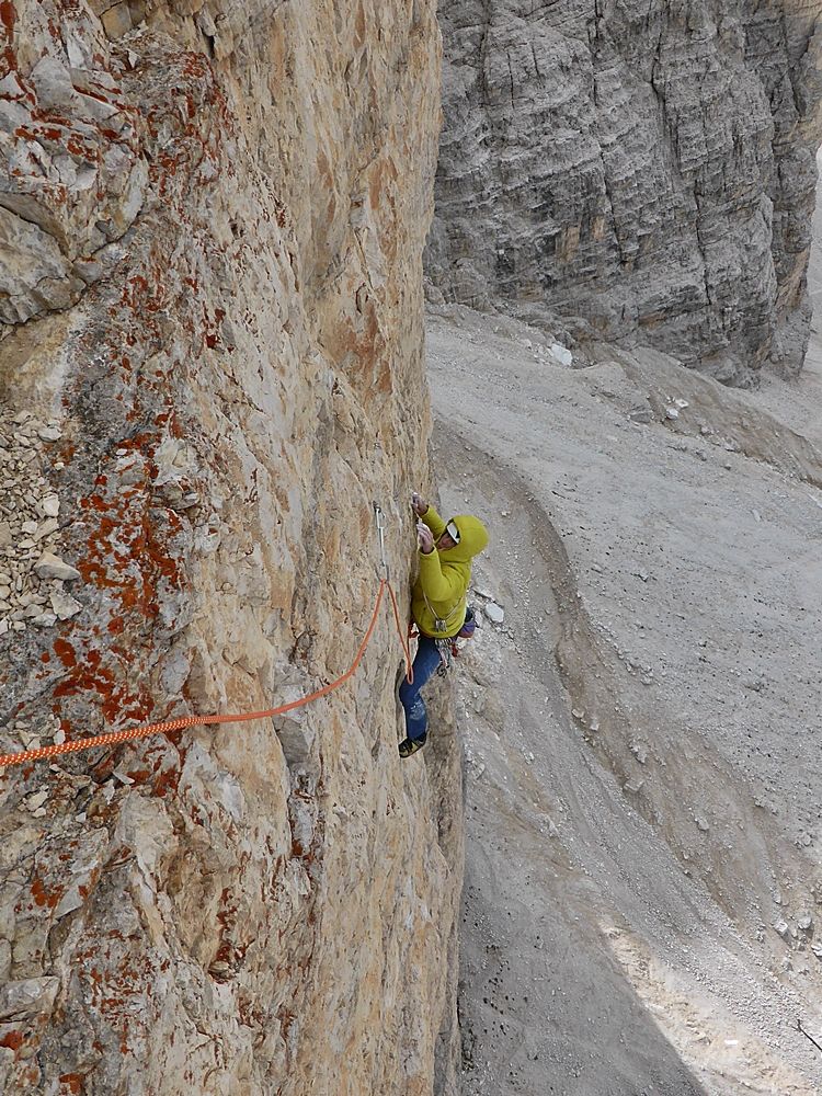 Matt approching the belay at the end of the third ,7b pitch of Pressknödel.