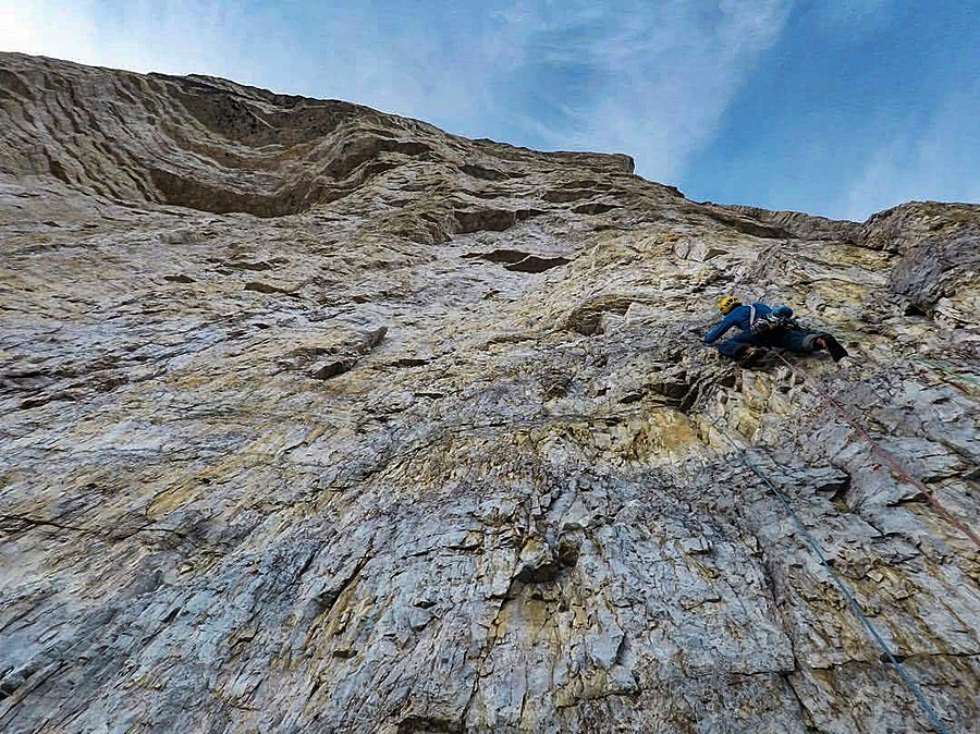 Myself on the first, 6a+ pitch of Pressknödel. credit, Matt Helliker.