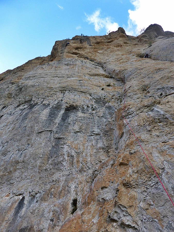 Myself on the 'rest' just before starting the crux sequence at the 50m mark.