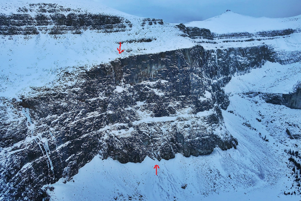 Jon Walsh picture showing the crag and the line of Grab the Cupcakes.