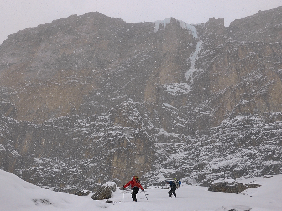 Approching the base of the climb in different conditions than our previous visit.