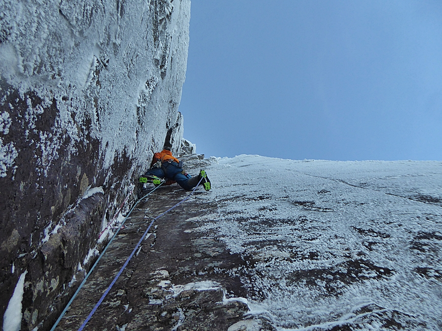 Myself leading the second pitch. This pitch is about as good as climbing in winter in Scotland gets! Pic credit, Murdoch Jamieson.