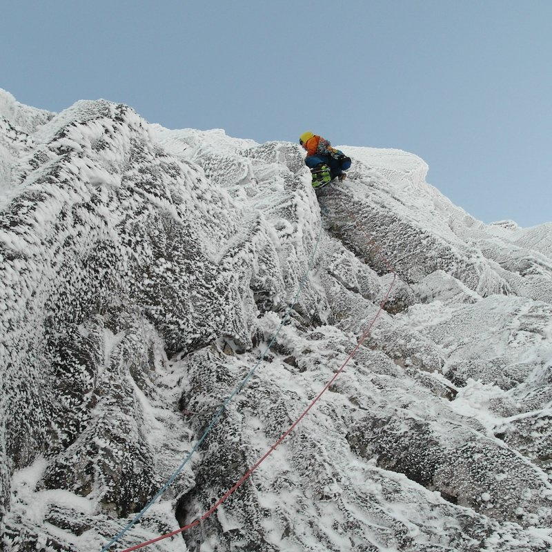 Myself climbing the third pitch. A 50m pitch of dangerous shuffling. Pic credit, Matt Helliker.