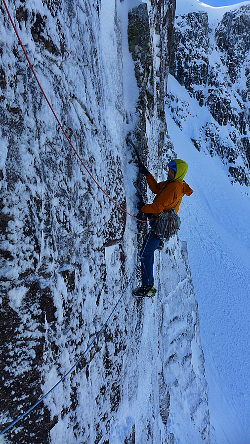 The groove is not as giving as an old climber would hope. Pic credit, Tim Neill.