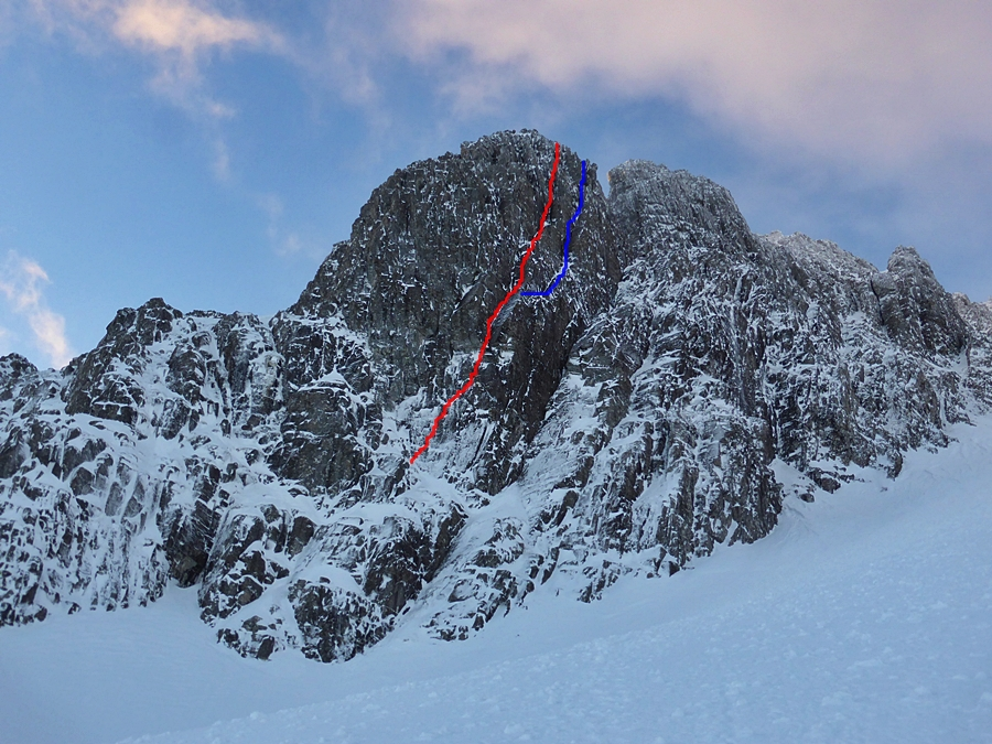 The red line is the line Tim and I climbed which was first climbed climbed on the 16th December 17 by Murdo and Iain Small which basically covers the crux of the Duel into an E1 called En Garde ramping up the sustained nature of the whole climb but does not need a massive cam! The red into blue, is the original line of the Duel. More info here http://www.scottishwinter.com/?p=6629