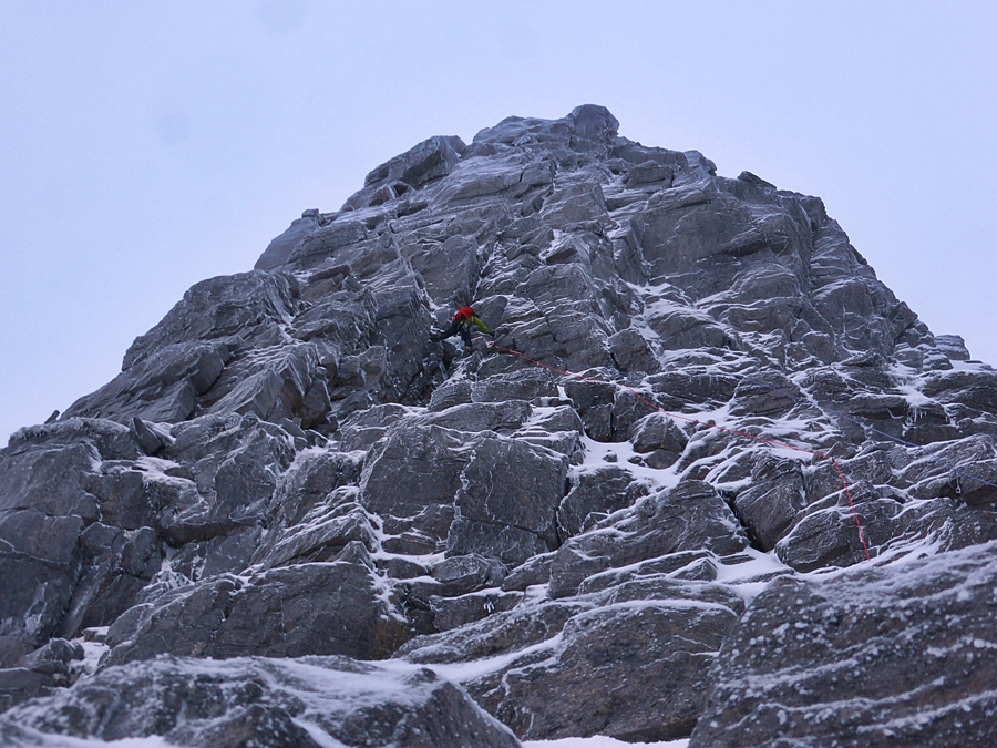 Tim on one of the upper pitches of the East Buttress.
